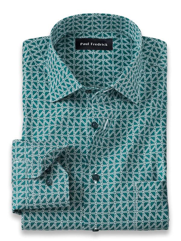 Slim Fit Non-Iron Cotton Deco Print Dress Shirt