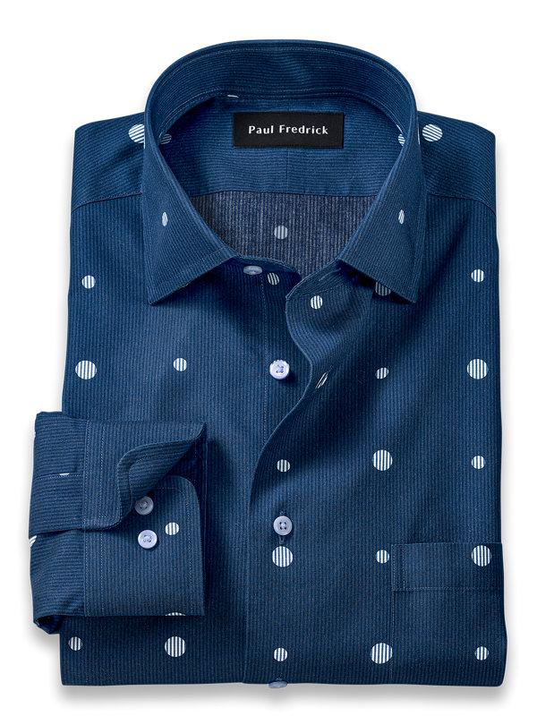 Tailored Fit Non-Iron Cotton Circle Print Dress Shirt