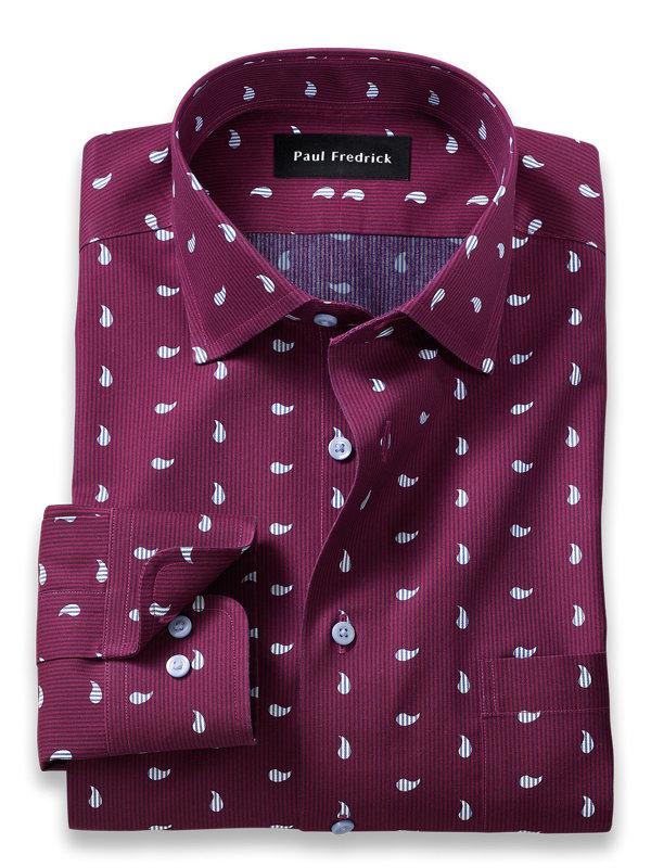 Tailored Fit Non-Iron Paisley Print Dress Shirt