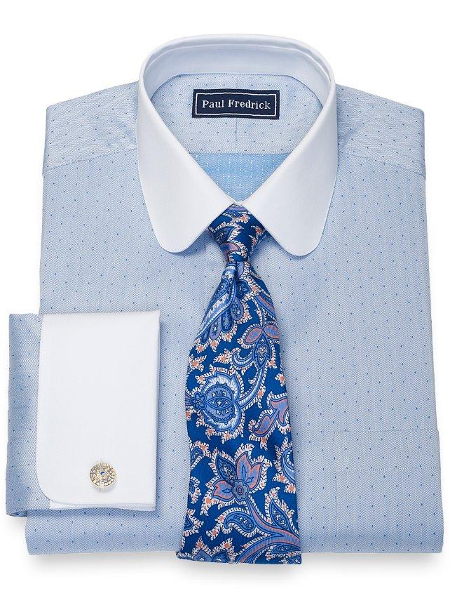 Slim Fit Cotton Herringbone Dress Shirt