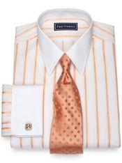Slim Fit Cotton Alternating Raised Satin Stripe Dress Shirt