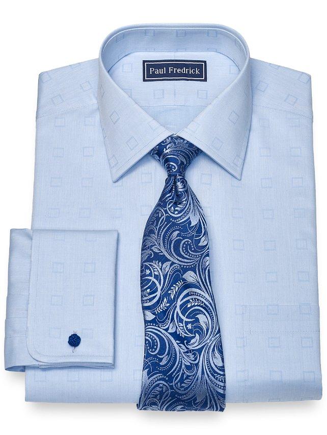 Cotton Twill Squares Dress Shirt