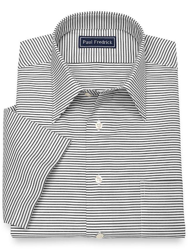Slim Fit Cotton Horizontal Stripe Short Sleeve