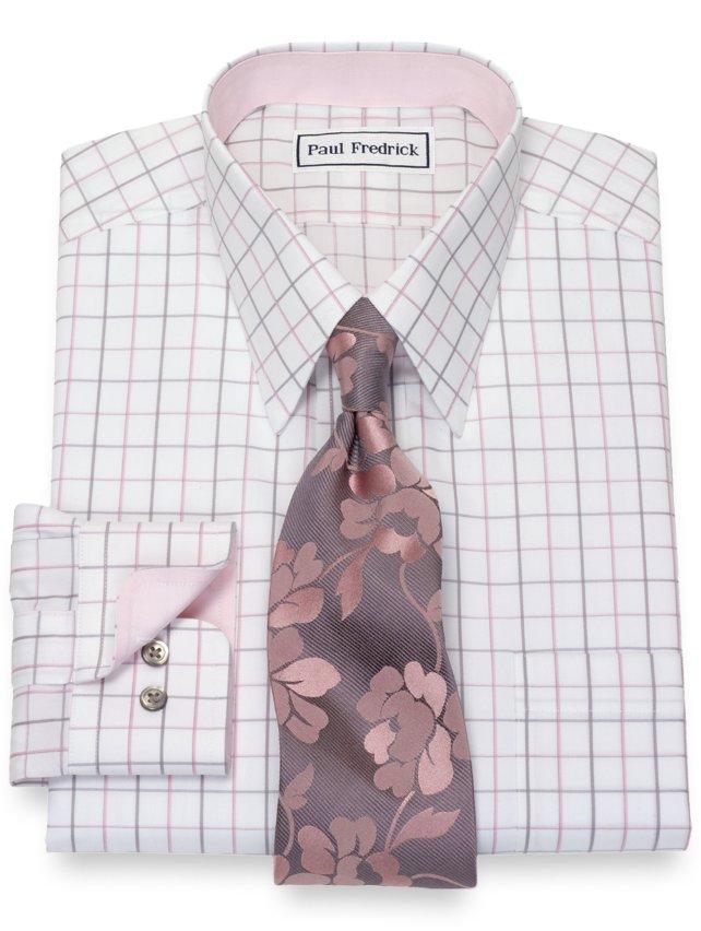 Slim Fit Non-Iron Cotton Satin Grid Dress Shirt