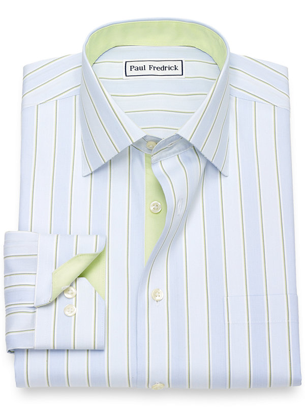 Non-Iron Cotton Wide Stripe Dress Shirt