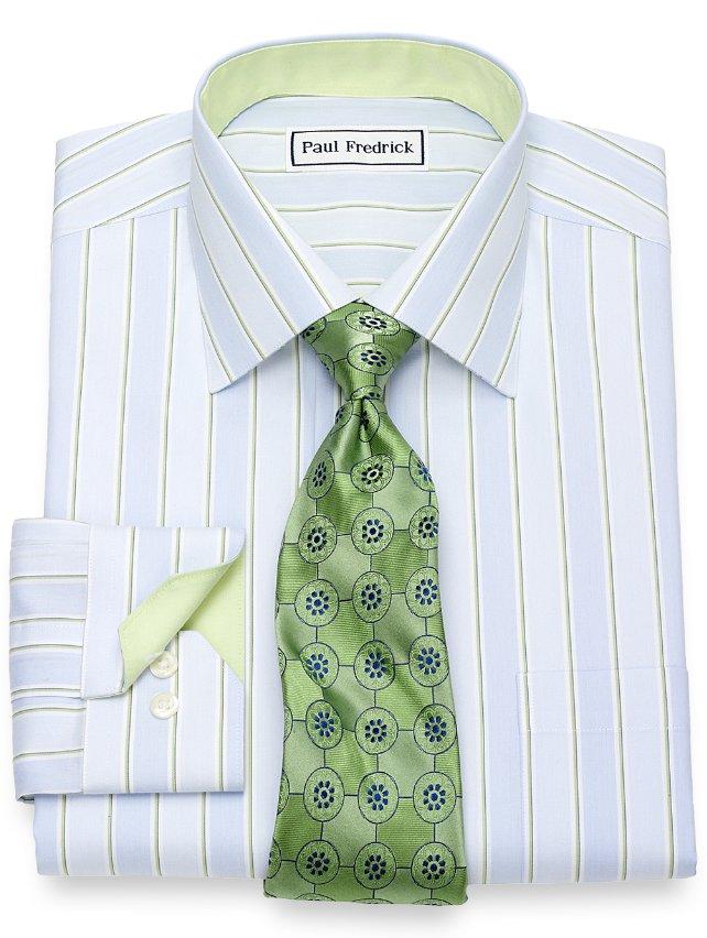 Slim Fit Non-Iron Cotton Wide Stripe Dress Shirt