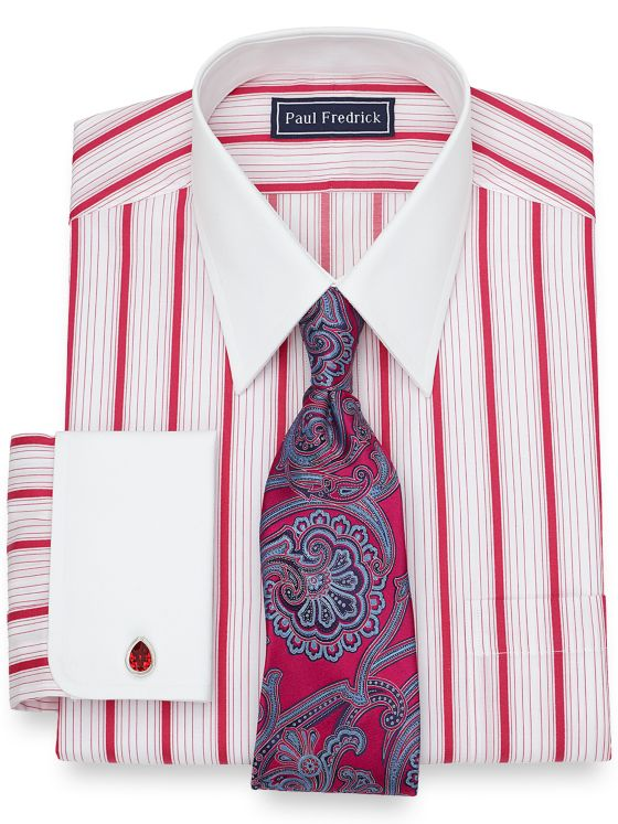 Cotton Alternating Raised Satin Stripe Dress Shirt