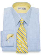 Slim Fit Non-Iron Cotton Diamond Pattern Dress Shirt