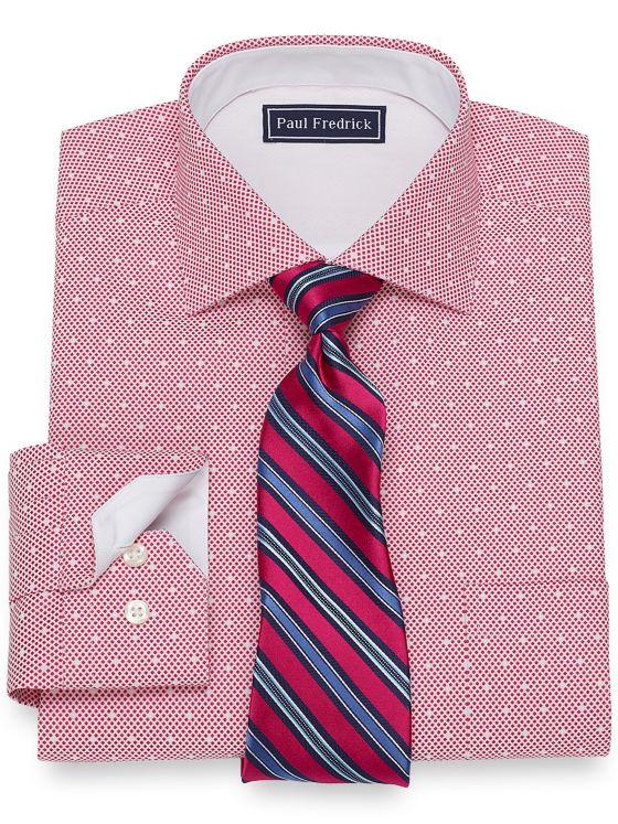 Cotton Satin Dots Dress Shirt