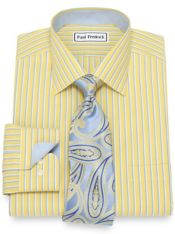 Slim Fit Non-Iron Cotton Stripe Dress Shirt
