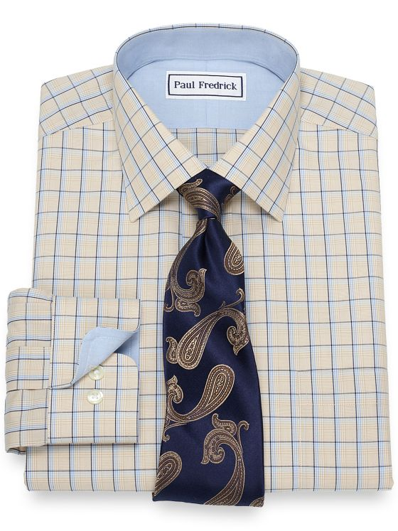Slim Fit Non-Iron Cotton Plaid Dress Shirt