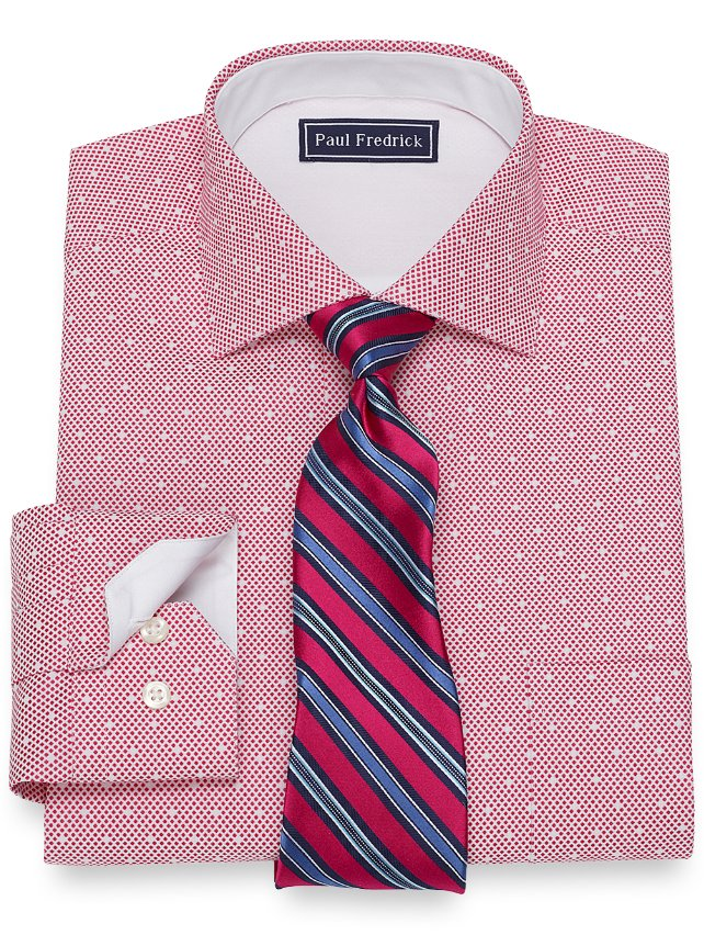 Slim Fit Cotton Satin Dots Dress Shirt