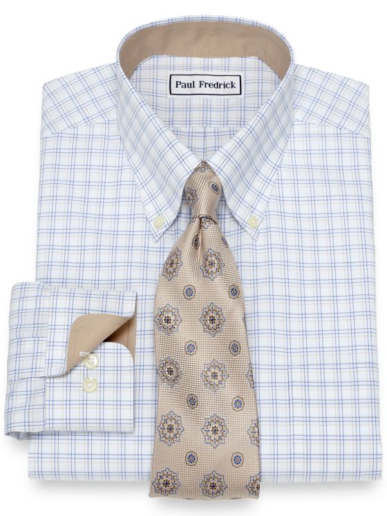 Slim Fit Non-Iron Cotton Tattersall Dress Shirt