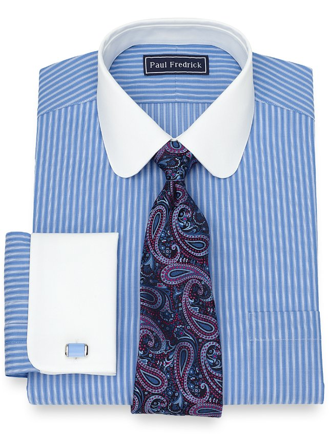 Slim Fit Cotton Satin Stripe Dress Shirt