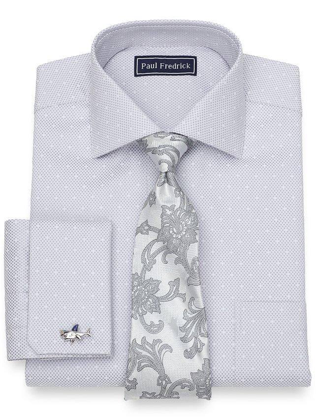 Slim Fit Cotton Satin Dots Dress Shirt