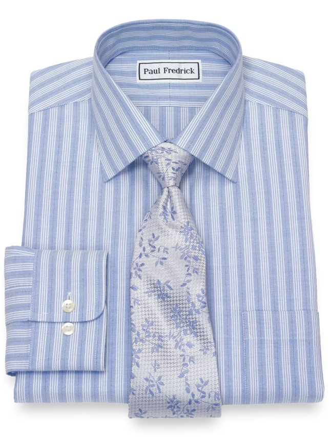 Non-Iron Supima Cotton Alternating Stripe Dress Shirt