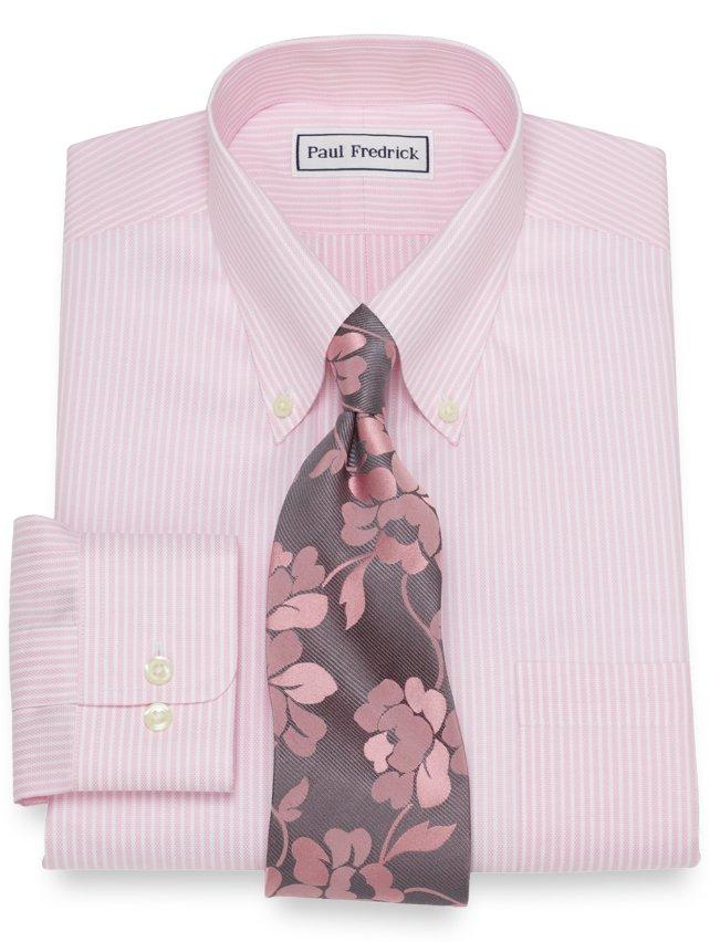 Non-Iron Cotton Royal Oxford Bengal Stripe Dress Shirt