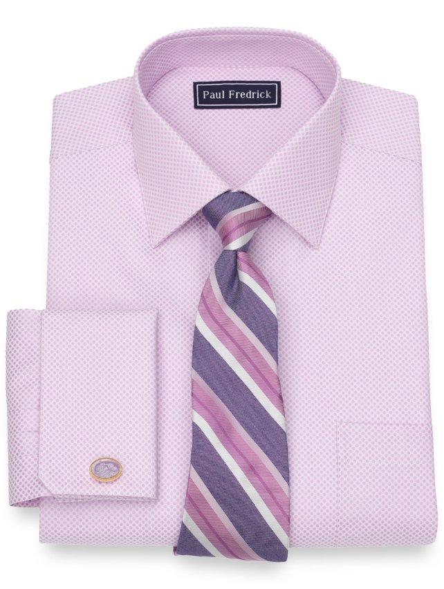 Slim Fit Cotton Satin Dot Dress Shirt