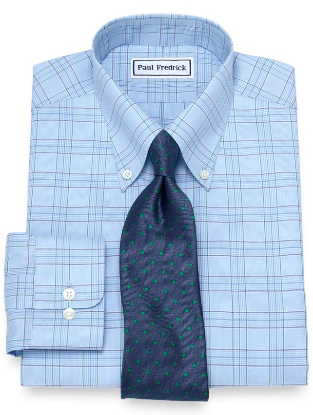 Non-Iron Supima Cotton Glen Plaid Dress Shirt