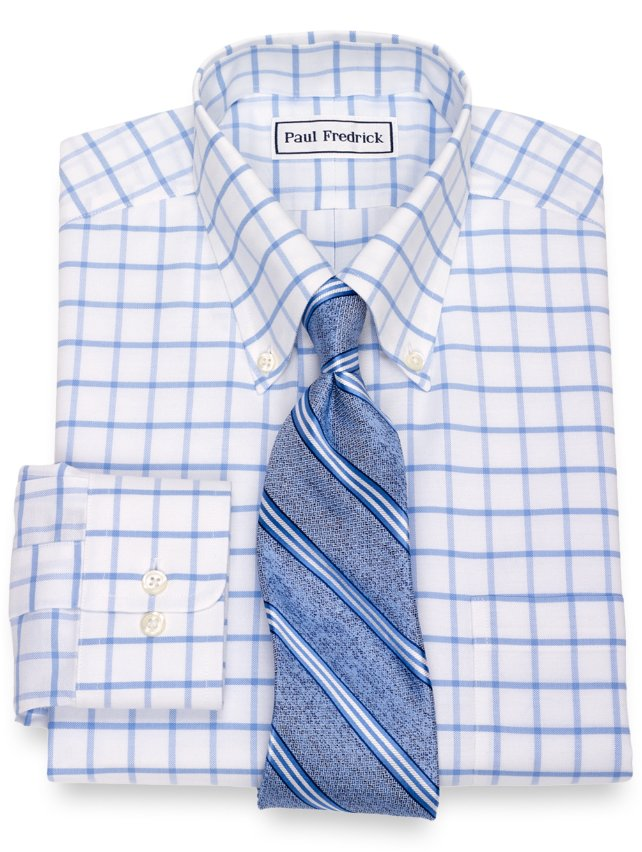 Non-Iron Supima Cotton Grid Dress Shirt