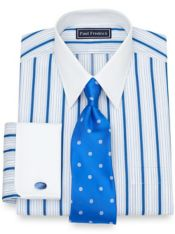 Slim Fit Cotton Alternating Raised Satin Stripe Dress Shirt