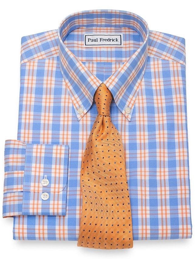 Non-Iron Cotton Plaid Dress Shirt