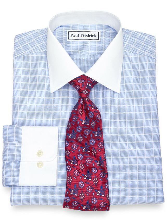 Non-Iron Cotton Satin Windowpane Dress Shirt