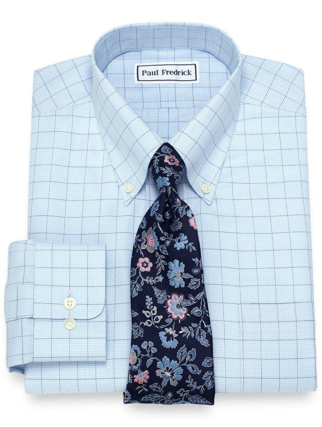 Non-Iron Cotton Houndstooth Windowpane Dress Shirt
