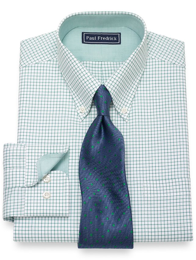 Slim Fit Cotton Grid Dress Shirt
