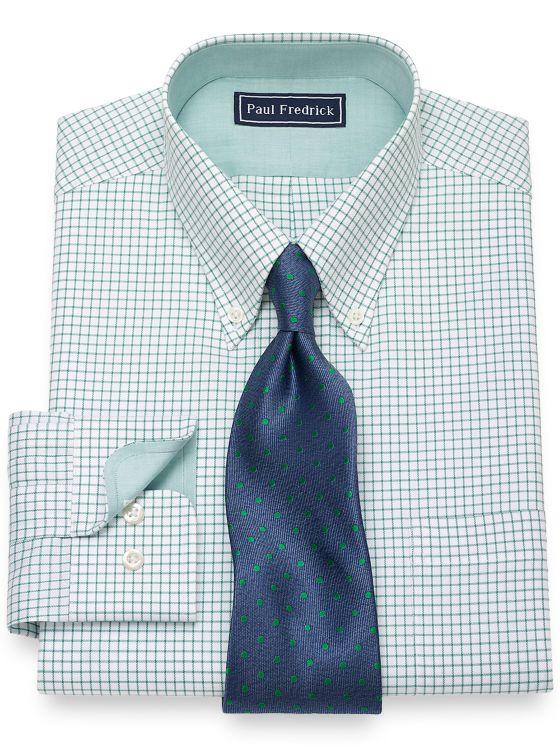 Slim Fit Cotton Grid Dress Shirt