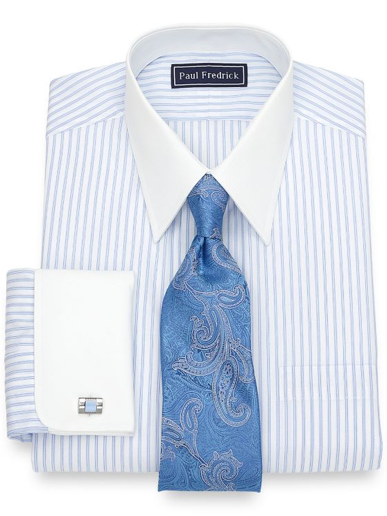 Slim Fit Cotton Tread Stripe Dress Shirt