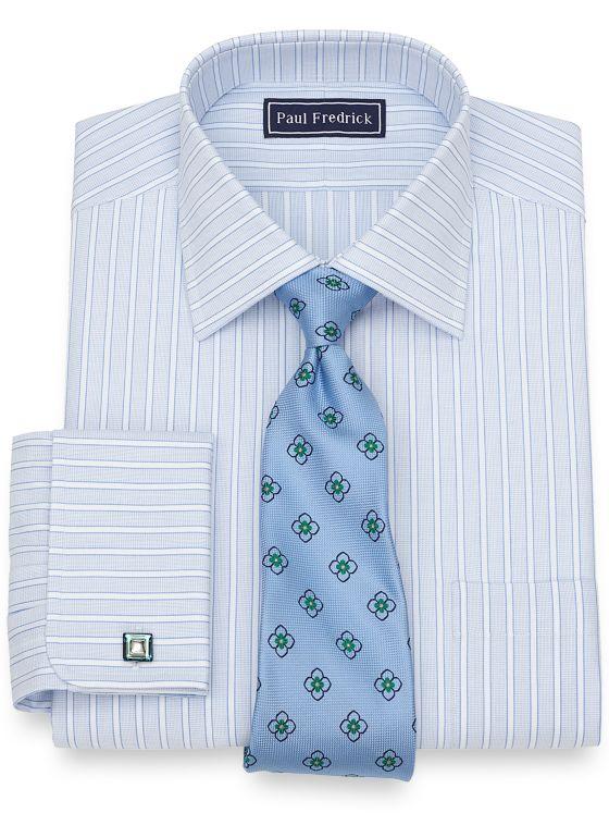 Cotton Textured Stripe Dress Shirt