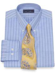 Slim Fit Cotton Fine Line Stripe Dress Shirt
