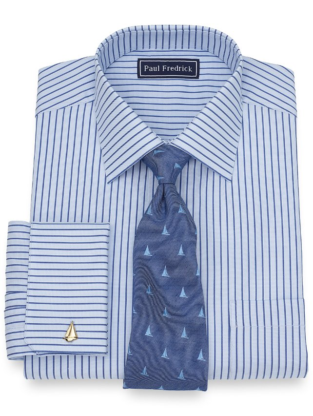 Slim Fit Cotton Textured Stripe Dress Shirt