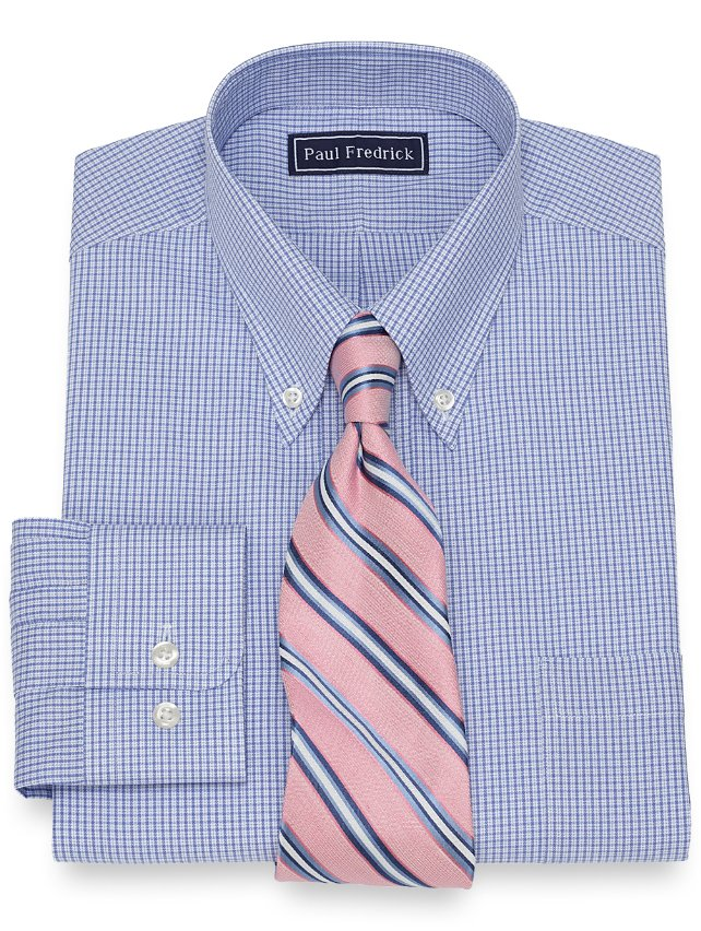 Slim Fit Cotton Mini Grid Dress Shirt