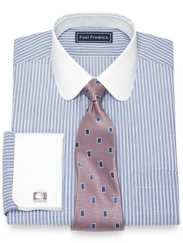 Cotton Textured Stripe Dress Shirt