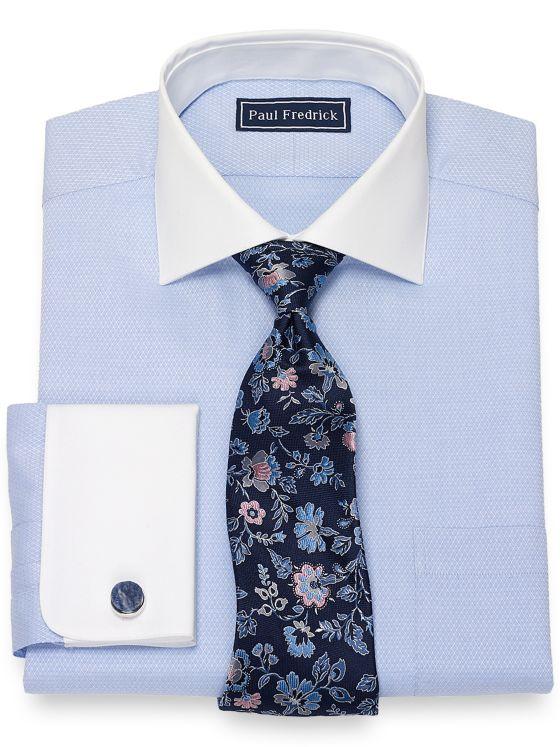 Slim Fit Cotton Tonal Diamond Pattern Dress Shirt