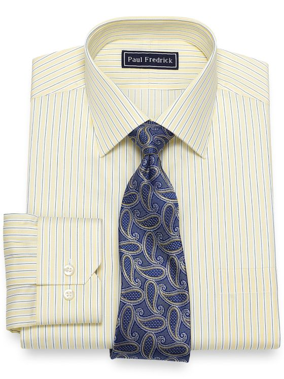 Cotton Alternating Stripe Dress Shirt