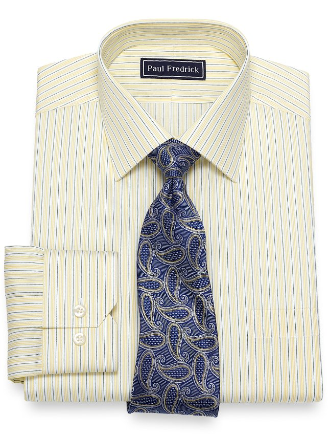 Slim Fit Cotton Alternating Stripe Dress Shirt
