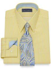 Slim Fit Cotton Shadow Stripe Dress Shirt