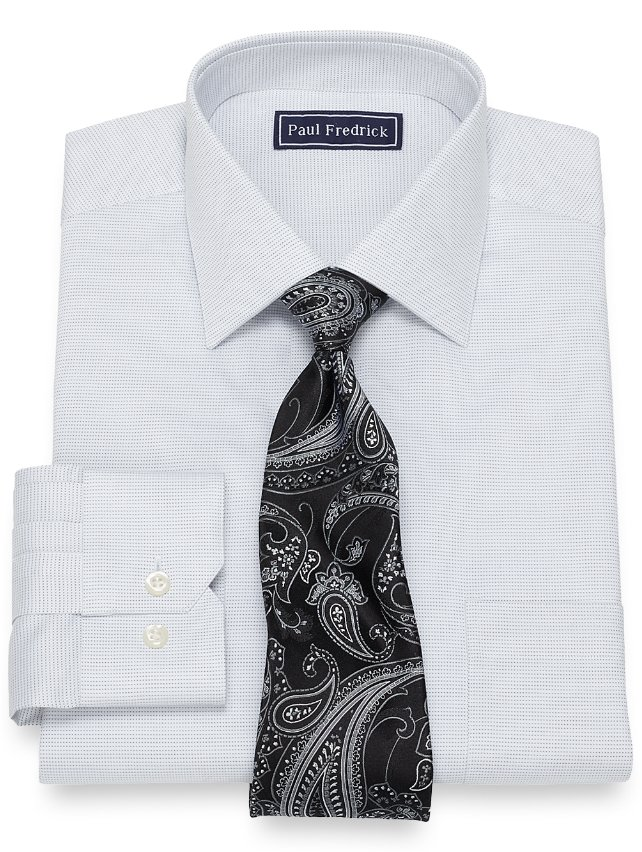 Slim Fit Cotton Textured Dot Pattern Dress Shirt
