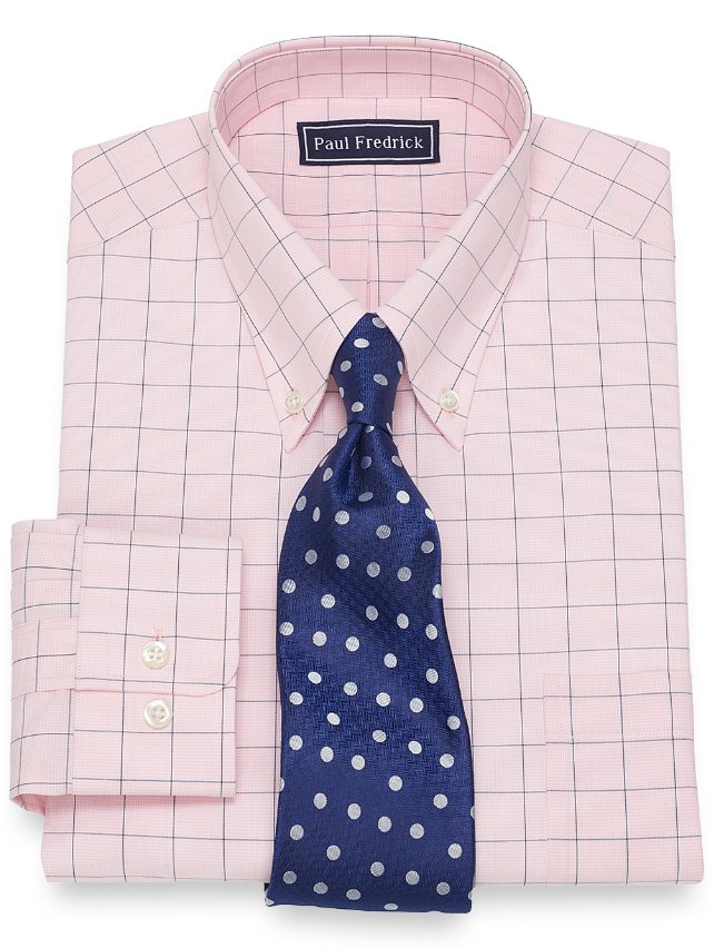 Cotton Large Grid Dress Shirt