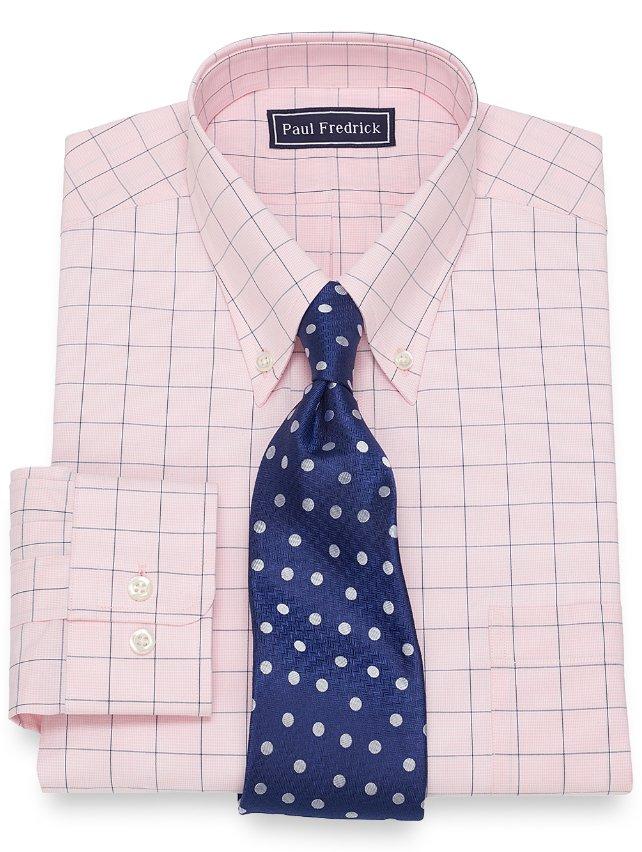 Slim Fit Cotton Large Grid Dress Shirt
