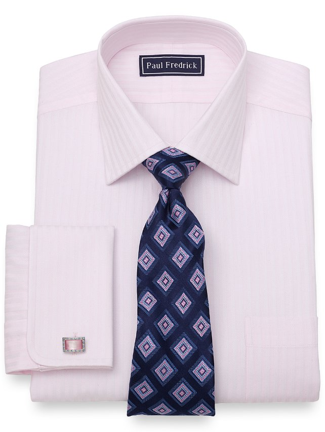 Slim Fit Cotton Tonal Satin Stripe Dress Shirt