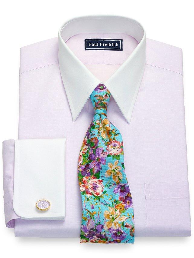 Cotton Tonal Mini Squares Dress Shirt
