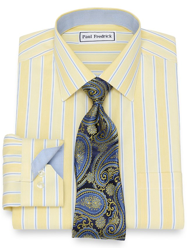 Non-Iron Cotton Wide Stripe Dress Shirt