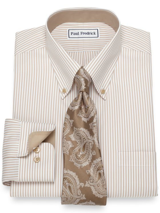 Slim Fit Non-Iron Cotton Bengal Stripe Dress Shirt
