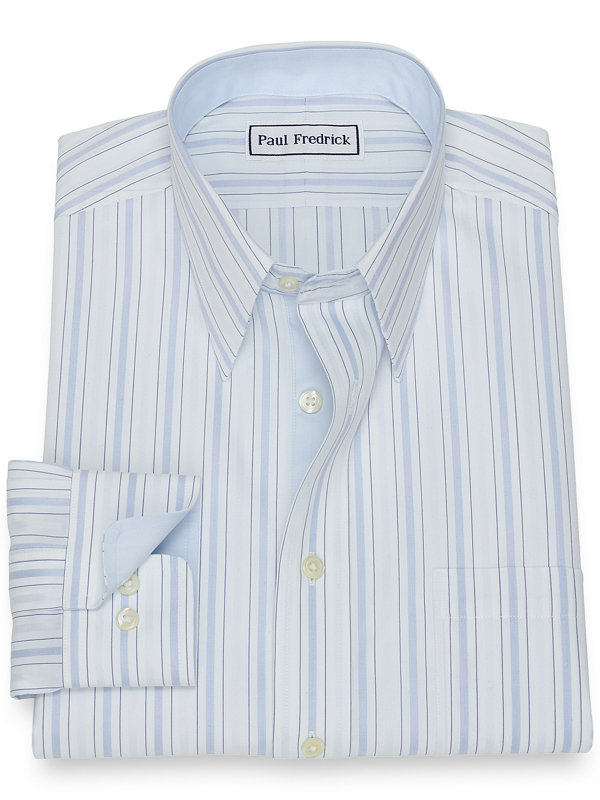 Non-Iron Cotton Alternating Stripe Dress Shirt