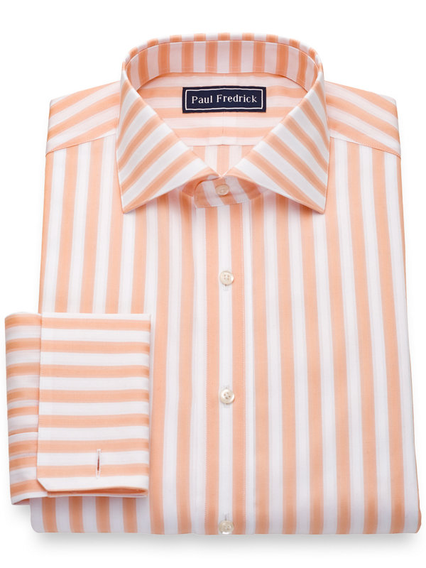 Pure Cotton Broadcloth Bold Stripe French Cuff Dress Shirt