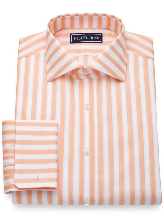 Pure Cotton Broadcloth Bold Stripe French Cuff Dress Shirt